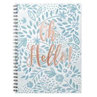 Cadernos Espiral Caderno espiral oh olá! das citações florais azuis