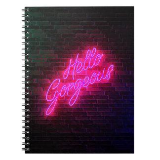 Caderno Espiral Olá! lindo - sinal de néon