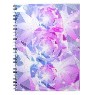 Caderno Espiral Olhar cor-de-rosa azul do cristal de rocha do