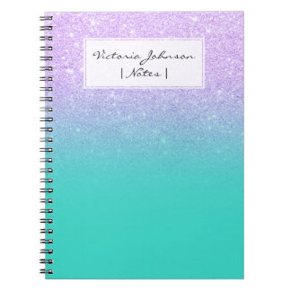 Caderno Espiral Ombre chique de turquesa do brilho da lavanda da