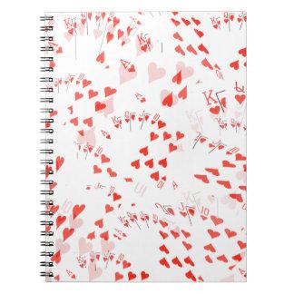 Caderno Espiral Os corações reais dos cartões do póquer nivelam o