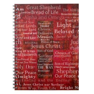 Caderno Espiral Os nomes do Jesus Cristo da bíblia