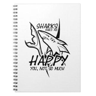 Caderno Espiral Os tubarões fazem-me engraçado feliz