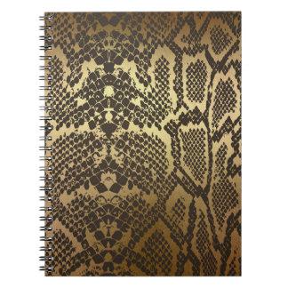 Caderno Espiral Ouro Glam moderno do impressão da pele de cobra