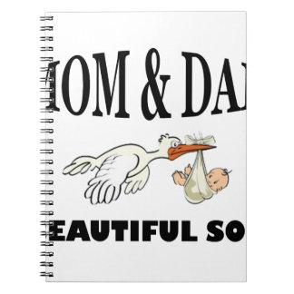Caderno Espiral Pai da mamã e filho bonito