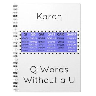 Caderno Espiral Palavras de Q sem um ajudante do jogo de U