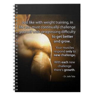 Caderno Espiral Palavras inspiradores do exercício - desafio e