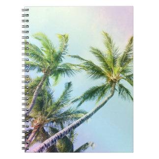Caderno Espiral Palmas de relaxamento da cor do arco-íris