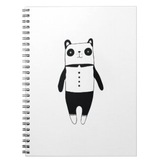 Caderno Espiral Panda preto e branco pequena