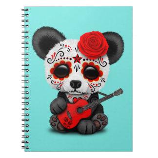 Caderno Espiral Panda vermelha do crânio do açúcar que joga a