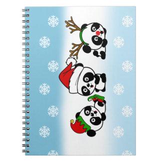 Caderno Espiral Pandas do Natal