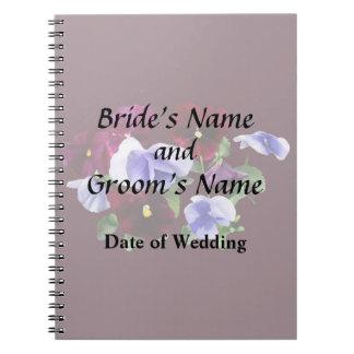 Caderno Espiral Pansies marrons e roxos que Wedding produtos