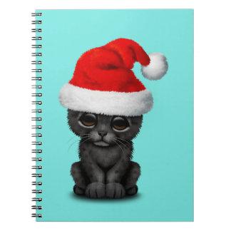 Caderno Espiral Pantera preta bonito Cub que veste um chapéu do