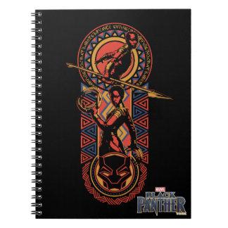 Caderno Espiral Pantera preta | Okoye & painel de Nakia Wakandan
