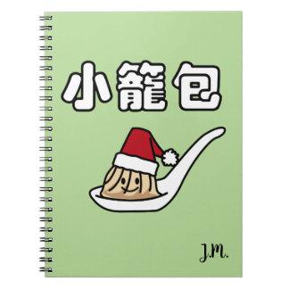 Caderno Espiral Papai noel chinês de Dim Sum da bolinha de massa