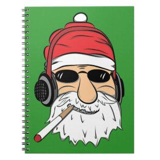 Caderno Espiral Papai noel com óculos de sol cigarro e fones de