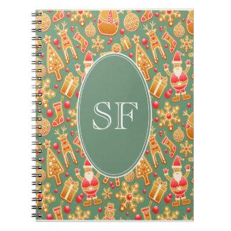 Caderno Espiral Papai noel e monograma festivos do pão-de-espécie