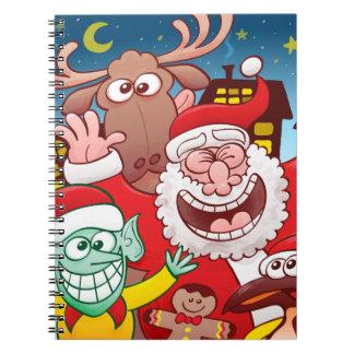 Caderno Espiral Papai Noel e sua equipe estão prontos para o Natal