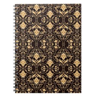 Caderno Espiral Papel de parede da cor damasco da arte da