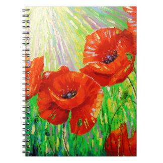 Caderno Espiral Papoilas na luz solar