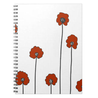 Caderno Espiral papoilas vermelhas
