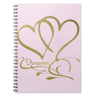 Caderno Espiral Para sempre cores editáveis do fundo do ouro dos