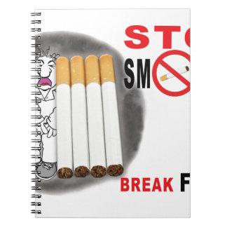 Caderno Espiral Pare de fumar lembretes - não mais bumbuns