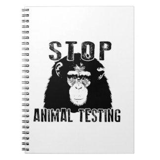 Caderno Espiral Pare o teste animal - chimpanzé