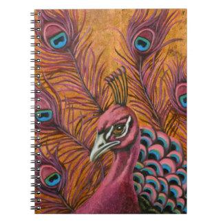 Caderno Espiral Pavão cor-de-rosa