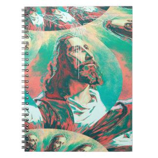 Caderno Espiral Paz Posterized da pomba do Fractal do Jesus Cristo