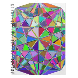 Caderno Espiral Pedra de gema tirada Kaleidescope colorida