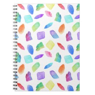 Caderno Espiral Pedra de gemas de cristal colorida dos cristais