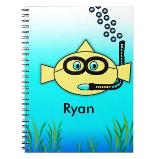 Caderno Espiral Peixes do Snorkel com nome