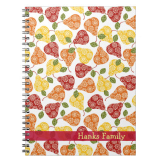 Caderno Espiral Peras bonitos bonitas em cores do outono