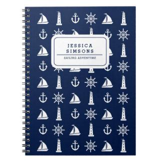 Caderno espiral personalizado das coisas náuticas