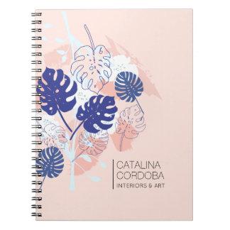 Caderno Espiral Pêssego tropical moderno do teste padrão da folha