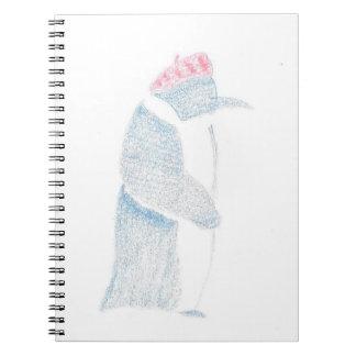Caderno Espiral Pinguim em uma boina