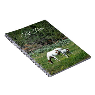 Caderno Espiral Pinte a égua e o potro do cavalo personalizados