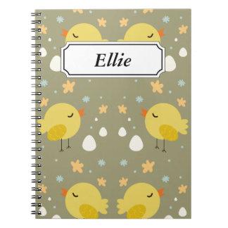 Caderno Espiral Pintinhos bonitos da páscoa e teste padrão pequeno