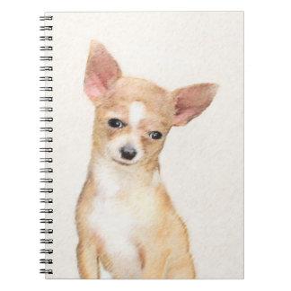 Caderno Espiral Pintura da chihuahua - arte original bonito do cão