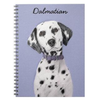 Caderno Espiral Pintura Dalmatian - arte original bonito do cão