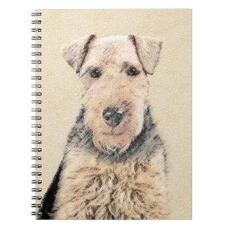 Caderno Espiral Pintura de galês Terrier - arte original bonito do