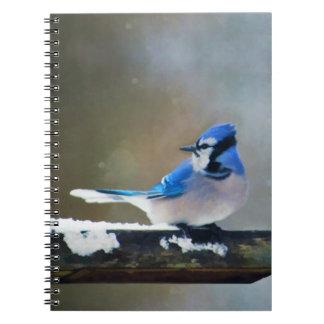 Caderno Espiral Pintura de Jay azul - arte original do pássaro