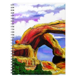Caderno Espiral Pintura de paisagem dobro do arco