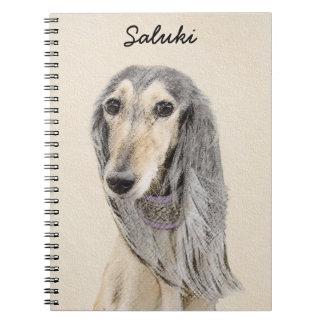 Caderno Espiral Pintura de Saluki (jovem corça) - arte original