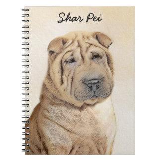 Caderno Espiral Pintura de Shar Pei - arte original bonito do cão