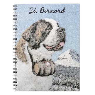 Caderno Espiral Pintura de St Bernard - arte original bonito do