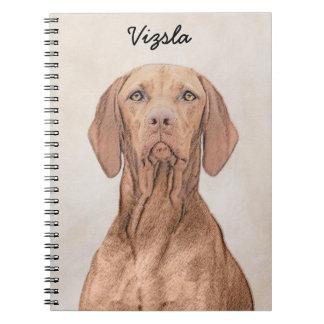 Caderno Espiral Pintura de Vizsla - arte original bonito do cão