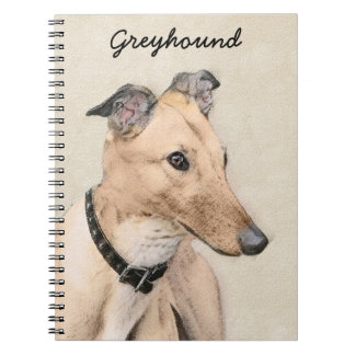 Caderno Espiral Pintura do galgo - arte original bonito do cão