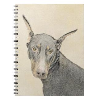 Caderno Espiral Pintura do Pinscher do Doberman - arte original do